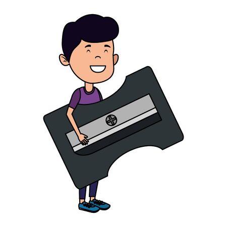 happy student boy with sharpener vector illustration design