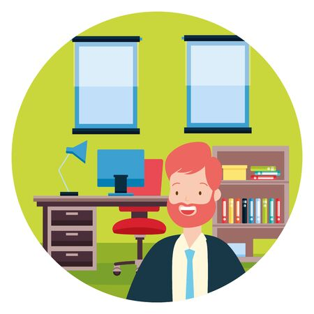 businessman desk laptop chair bookshelf windows office workspace vector illustration