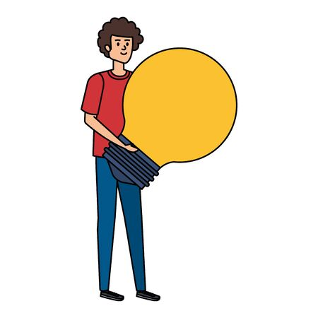 young man lifting bulb light vector illustration design Imagens - 129341349