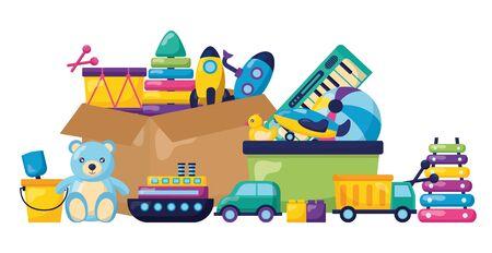 kids toys storage box rocket drum ball bear bucket car truck xylophone vector illustration