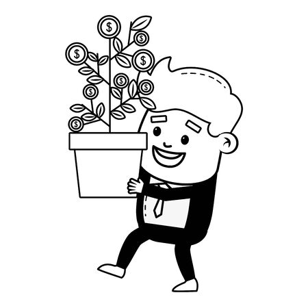 businessman with plant growth coins online payment vector illustration Ilustrace