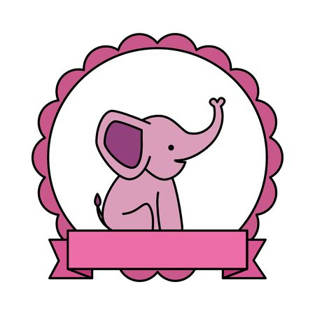 lace with cute little elephant character vector illustration design