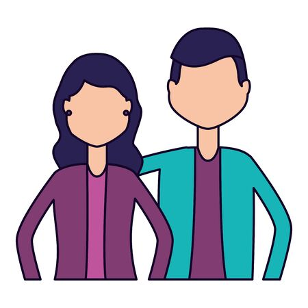 man and woman portrait on white background vector illustration Фото со стока - 129253019