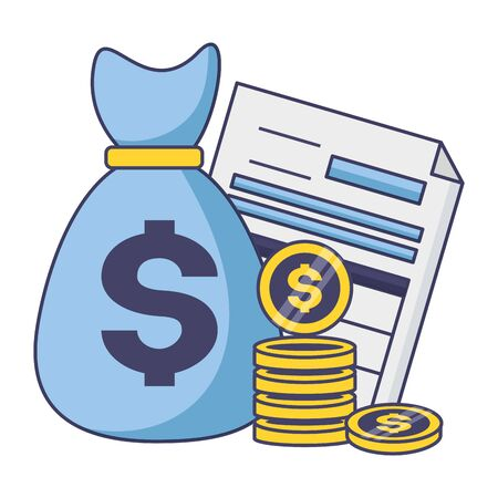 money bag form coins tax payment  vector illustration Ilustração