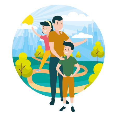 father with son and daughter family outdoors vector illustration
