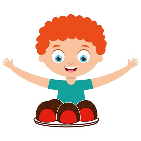boy with chocolate snack cartoon vector illustration