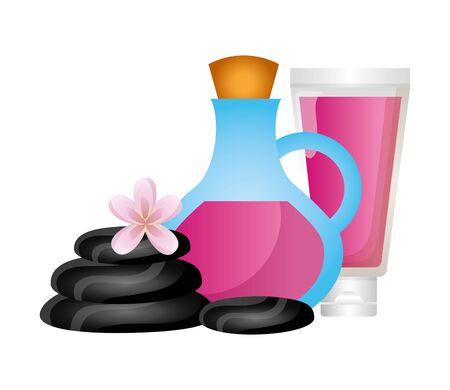 oil bottle tube stones flower spa therapy vector illustration Zdjęcie Seryjne - 129252995