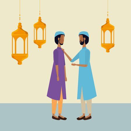 ramadan kareem lanterns hanging with men group vector illustration design