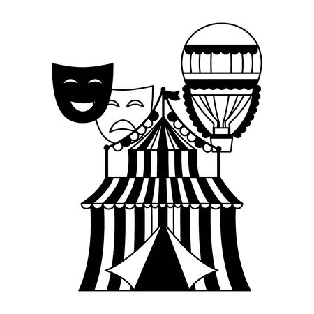 carnival tent air balloon theater masks vector illustration design