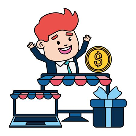 businessman online payment laptop computer gift money vector illustration 写真素材 - 129253001