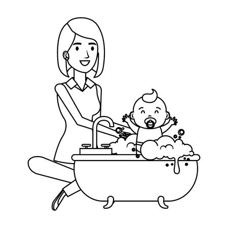 mother with baby bathing in the bathtub vector illustration design
