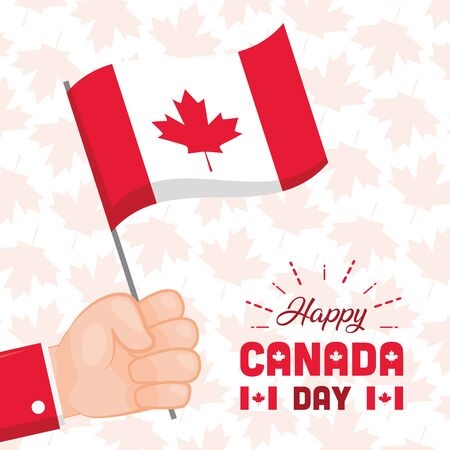 hand holding flag happy canada day vector illustration