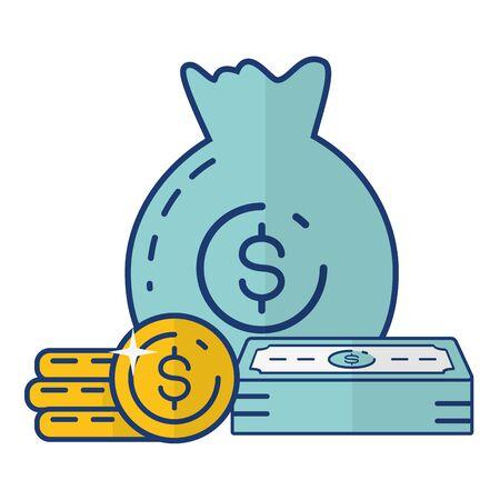money bag banknote stack coins online banking vector illustration