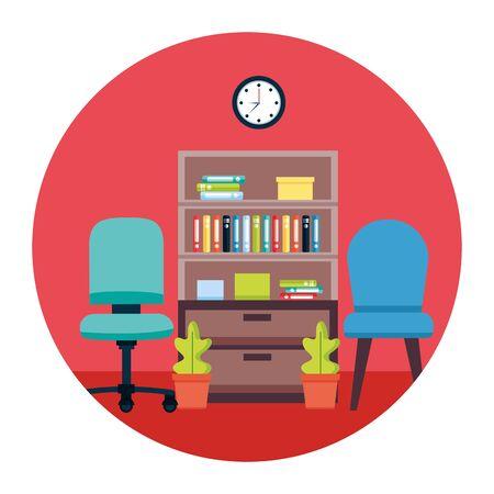 bookshelf chair books plants workplace office furniture vector illustration