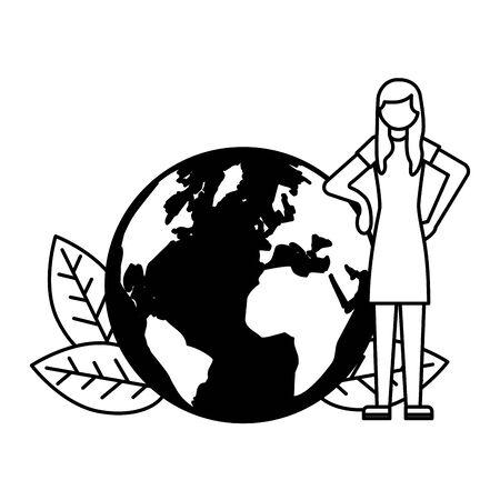 woman and planet earth leaves vector illustration Illusztráció
