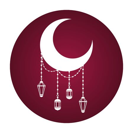 half moon and lanterns ramadan kareem celebration vector illustration design