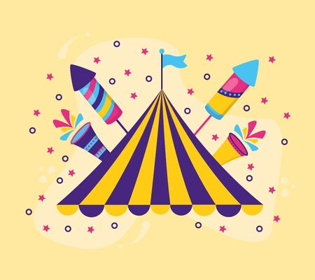 carnival tent flag rocket fireworks vector illustration design Ilustracja