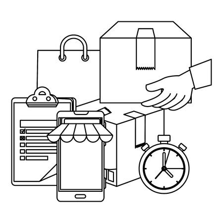 smartphone with delivery app and chronometer vector illustration design