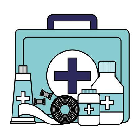medical suitcase tube bottle medicine pharmacy bandage equipment vector illustration