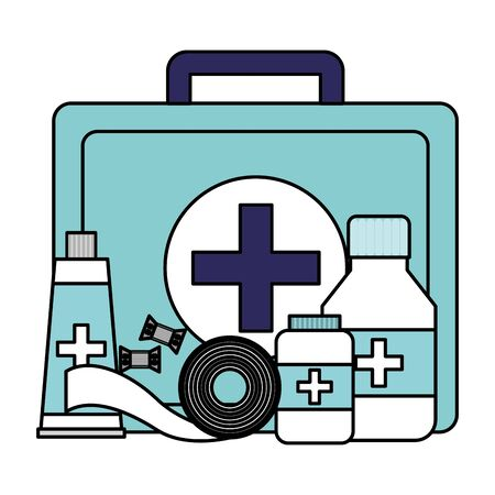 medical suitcase tube bottle medicine pharmacy bandage equipment vector illustration Zdjęcie Seryjne - 129252915