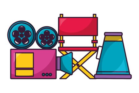 projector chair and speaker cinema movie vector illustration