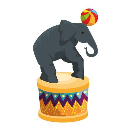 circus elephant playing with balloon in stage vector illustration design