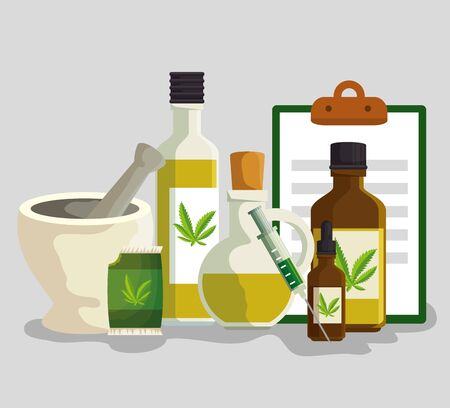 stone grinding crusher with cannabis oil in the bottles and check list with syringe vector illustration Ilustracja