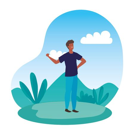 happy young afro man in the landscape vector illustration design Иллюстрация
