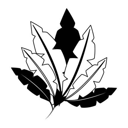 white black feathers decoration ornament vector illustration design