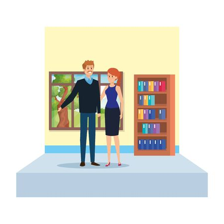 teachers couple in school classroom vector illustration design