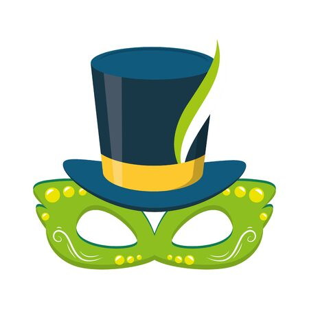 hat and mask feather brazil carnival vector illustration