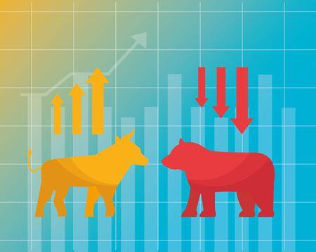 bull bear upward and downward chart financial stock market vector illustration
