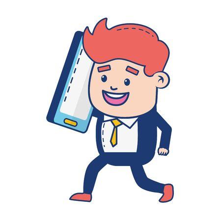 businessman mobile online banking vector illustration design