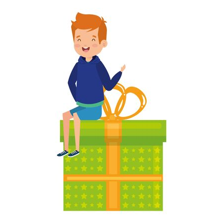 little school boy seated in giftbox vector illustration design