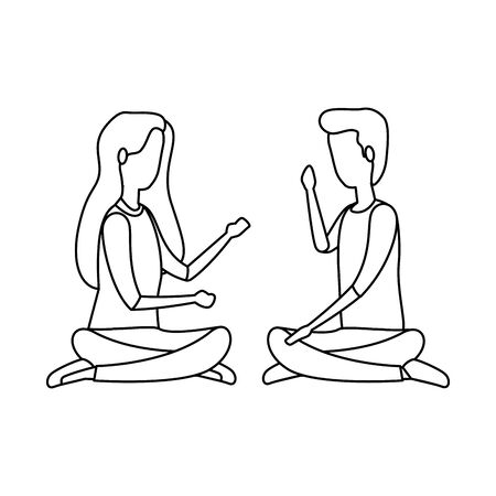 elegant business couple practicing yoga vector illustration design Illustration