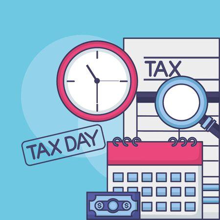 belastingbetaling document kalender klok geld vergrootglas vectorillustratie Vector Illustratie