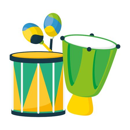 drums celebration musical brazil carnival festival vector illustration Ilustracja