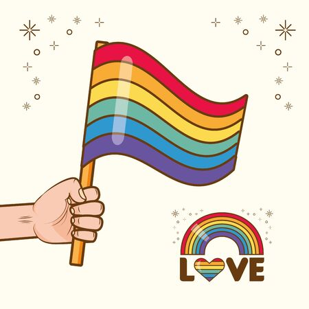 hand with flag rainbow lgbt pride love vector illustration Stock Illustratie