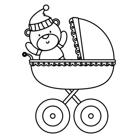 little bear teddy in baby cart vector illustration design
