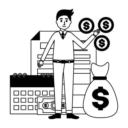 businessman money bag tax calendar payment vector illustration