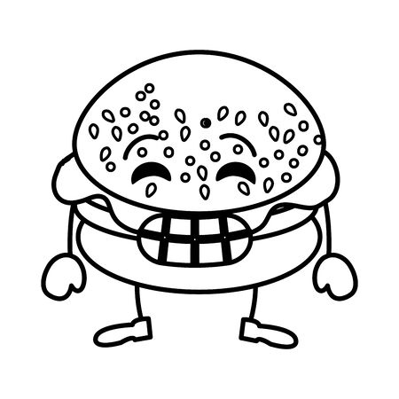 delicious burger kawaii character vector illustration design