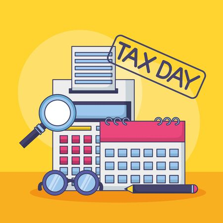 calculator calendar eyeglasses analysis tax payment vector illustration Ilustracja