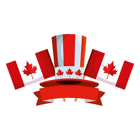 canadian tophat culture with flags frame vector illustration design