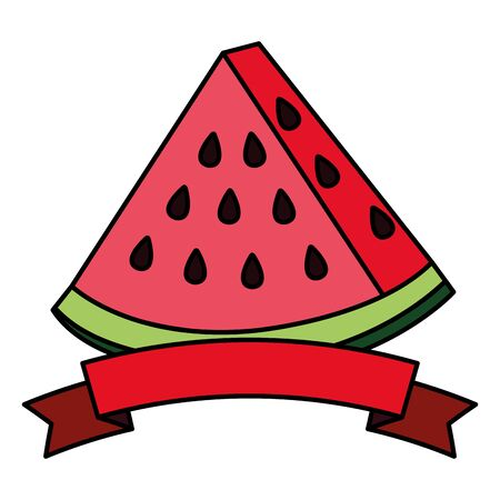 fresh watermelon fruit with ribbon stamp vector illustration design