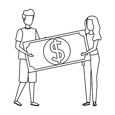 young couple lifting bill money dollar characters vector illustration design Ilustrace