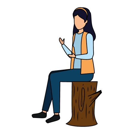 happy young woman seated in tree trunk vector illustration design Ilustracja