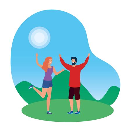 young lovers couple celebrating in the park vector illustration design 일러스트
