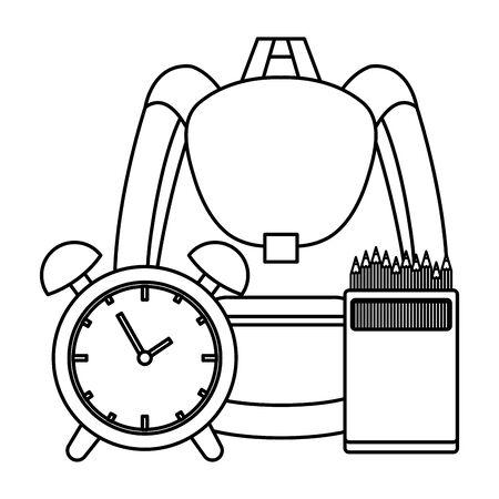 school bag with alarm clock and colors pencils vector illustration design Ilustração