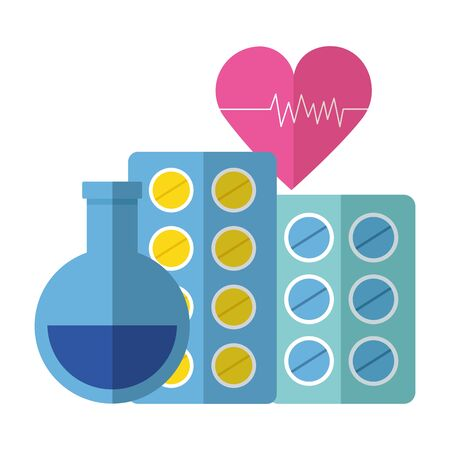 medical beaker pills heart medicine pharmacy vector illustration