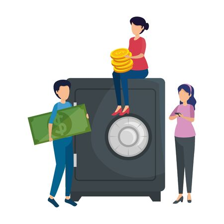 people with coins and safe box vector illustration design